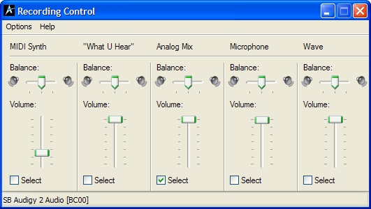 soundcontrol analog mix select