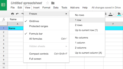 google sheets header